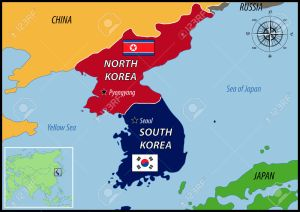 40937628-Map-of-Location-of-Korea-and-Flags-Stock-Vector